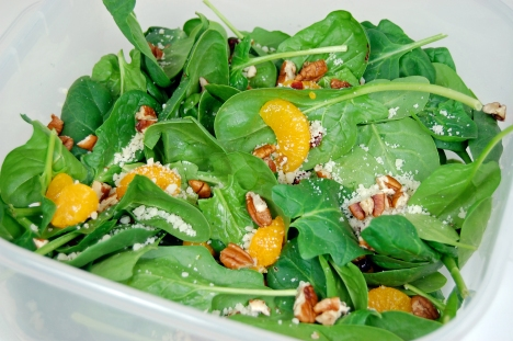 Spinach Salad with Cranberries, Mandarin Oranges & Pecans